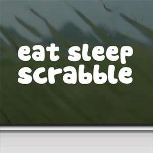 EAT SLEEP Scrabble White Sticker Car Vinyl Window Laptop White Decal