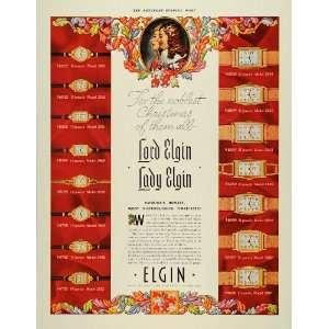 1937 Ad Elgin Wrist Watch Models Lord Christmas Lady