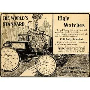 1900 Ad Elgin National Watch Co Roman Clock Vintage Car