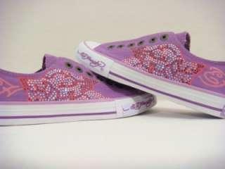 Ed Hardy women roses eggplant purple rhinestones sneakers shoes NEW