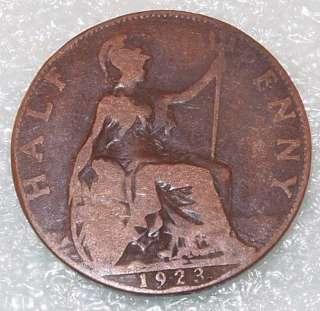 1923 U.K. GREAT BRITAIN 1/2 PENNY HALF Cent copper COIN
