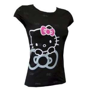 Hello Kitty Black Fitted Tee with Burnout Bow Pattern L