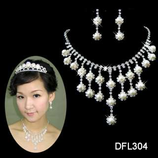 edding/Bridal Rhinestone Pearl crystal necklace earring Sliver set