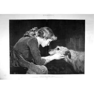 1894 Faithfull True Young Woman Puppy Dog Fine Art