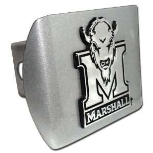 Marshall University Brushed Chrome Hitch Cover Automotive