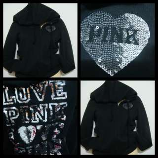 VICTORIAS SECRET PINK NWT SEQUIN LOVE PINK BLACK HOODIE S SOLD OUT