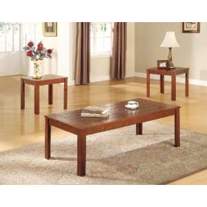 Piece Coffee & End Table Set with Pine Veneers: Home & Kitchen