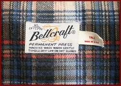 BELLCRAFT MENS BLUE PLAID FLANNEL SHIRT XL TALL 17 17 1/2
