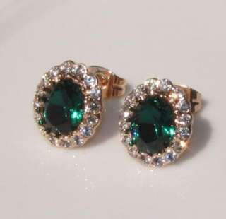 Emerald 18k gold GF genuine swarovski crystal wedding stud earrings