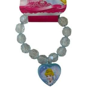 Disney Princess Cinderella Crystal Beaded Heart Charm Bracelet   Blue