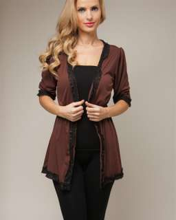WOMANS PLUS SIZE BROWN CARDIGAN SWEATER WITH BLACK LACE ACCENTS 2XL 18
