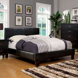 Winn Espresso Finish Leatherette Platform Bed Frame Set