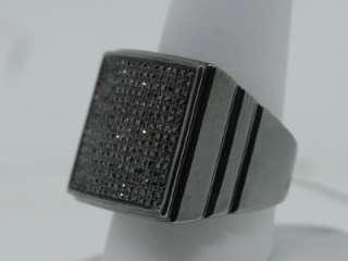 MENS WHITE GOLD FINISH BLACK DIAMOND FLAT PINKY RING