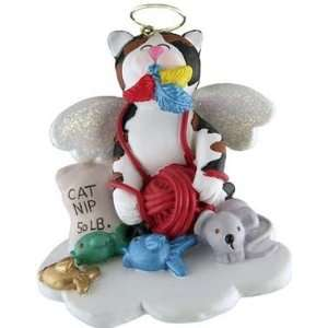 Kitty Cat Calico Angel Christmas Ornament 2 1/2 inches