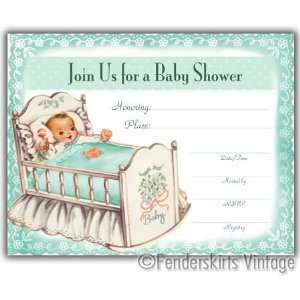 Vintage Baby Cradle Shower Invitations: Baby