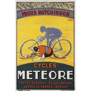 BICYCLE CYCLES BIKE METEORE PNEUS TIRES BOSTON VINTAGE POSTER CANVAS