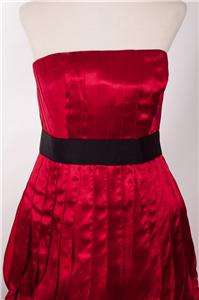 Ladies Phoebe Couture Red Strapless Pleated Silk Dress   Size 8