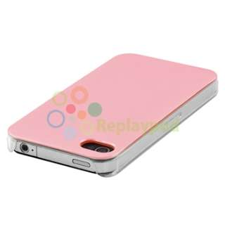 Pink +Pink Hard Clear Side Bling Skin Case For iPhone 4 4S 4GS Verizon