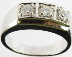 MEN 14K WHITE GOLD DIAMOND THREE STONE BAND ESTATE RING 145982