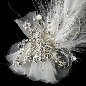 Beautiful Crystal & Ivory Feather Bridal Hair Clip