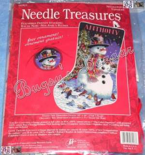 FEATHERED FRIENDS Stocking Snowman Birds Needlepoint Christmas Kit   L