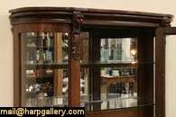 Curved Glass Lion Head Oak 1900 China or Curio Cabinet