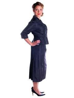 Vintage Parnes Feinstein Changeable Silk Taffeta Dress/Jacket 1940s 39