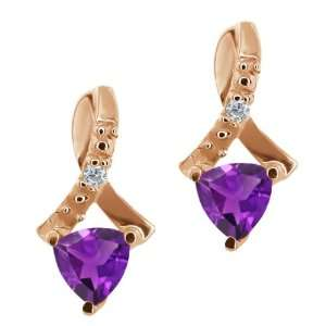 Ct Trillion Purple Amethyst and White Diamond 14k Rose Gold Earrings