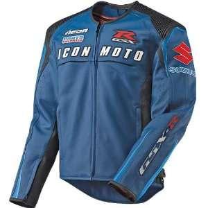 Icon Automag Suzuki Leather Motorcycle Jacket Blue