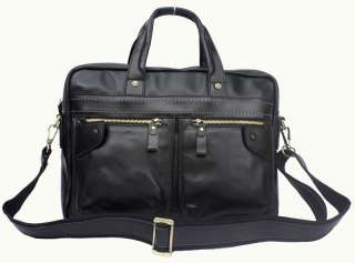 Cowhide Italy Leather Bag Briefcase Messenger Laptop Case Black C11