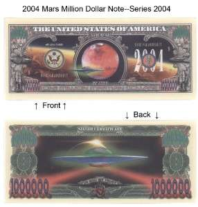 One Million Martian Dollars Bill Notes 2 for $1.25 gift