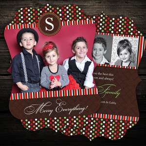 Personalized Custom Ornate Die Cut Mod Dots Christmas Holiday Photo