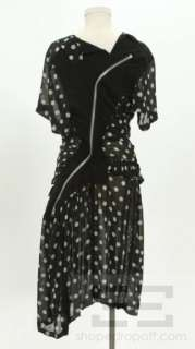 Comme des Garcons Black & Beige Silk Polka Dot Zipped Dress Size L