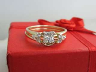 Gold Engagement / Wedding Princess Cut Diamond Ring Set   NR