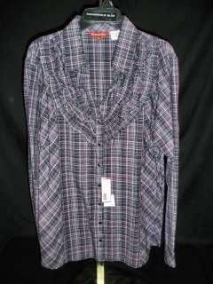 Panhandle Slim Womens Purple Plain Western V Neck Shirt  NEW with