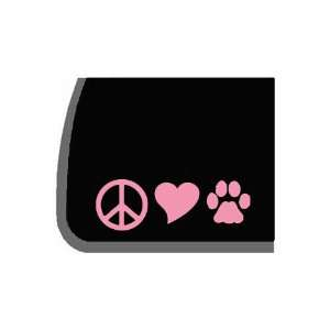 Peace, Love, Dogs Pink Decal for Car, Truck, Notebook Etc