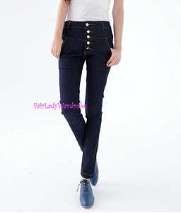 Japan Skinny Slim Buttons Fly Stretch Denim Jeans Dark Blue L