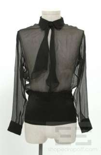 Gaultier Homme Black Silk Chiffon Sheer Mens Shirt Sz 15.5/39