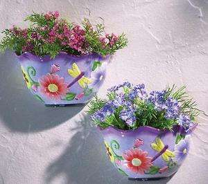 LOVELY SPRING PASTEL COLORS CERAMIC WALL PLANTER (GREAT FOR INDOORS OR