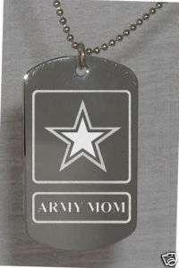 Army Mom Photo Dog Tag Necklace FREE ENGRAVING