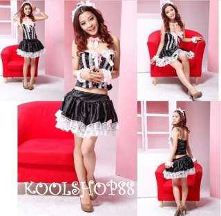Sexy Women French Maid Fancy dress corset costumes 3097