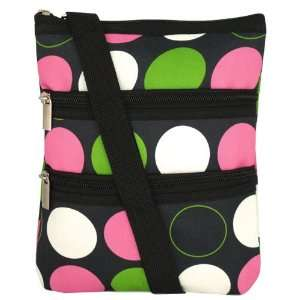 Black with Pink Green White Polka Dots Circle Hipster