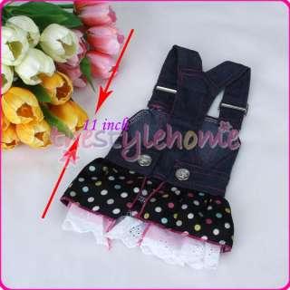 Dog Denim Gallus Dress Sequin Heart Pocket Clothes S