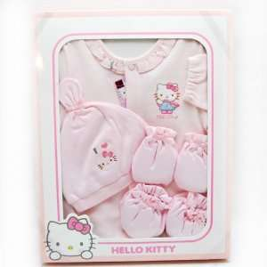 Hello Kitty Baby Gawn Hat Booties Mitts 4 piece Gift Set