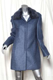 GIANNI VERSACE COUTURE Luxe Blue Grey*Vintage*FUR COLLAR Wool Coat