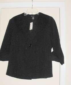 Ava & Grace Black Jacket Top Shirt w/Lace Collar Petite14P Misses 14