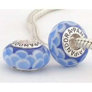 Valentines Day Mothers day 925 solid silver BLUE LOTUS Pandora Murano