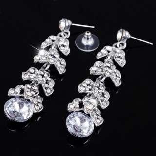 fashion white leaf pageant rhinestone jewelry set 26918