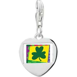 925 Sterling Silver Gold Plated St. Patricks Day With Shamrock Photo