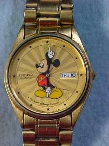 Rare Vintage Seiko Starburst Mens Disney Mickey Mouse Day Date